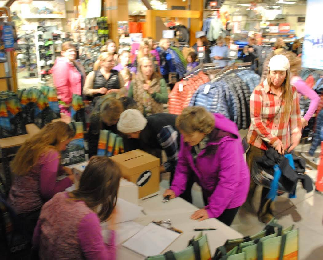 The registration line at Women's night at Eastern Mountain Sports in North Conway, NH November 2016. This event was sponsored in part by Prana and The Curtis Group.